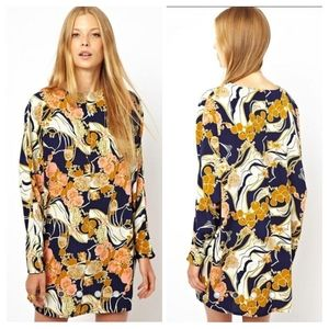 ASOS Shift Dress In Oriental Print